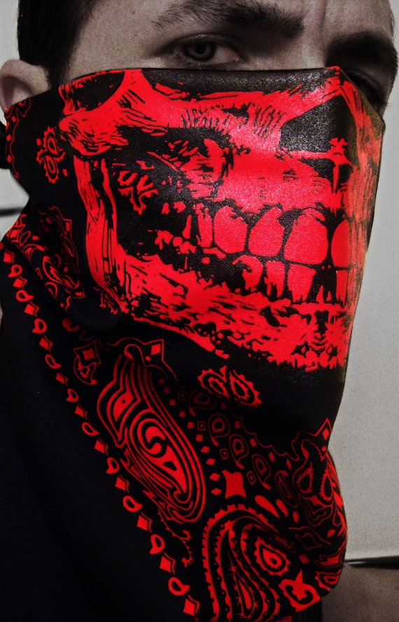 Red Skull hellbringer Paisley Cholo trainmen Bandana by EGOLOGICS, $24.99