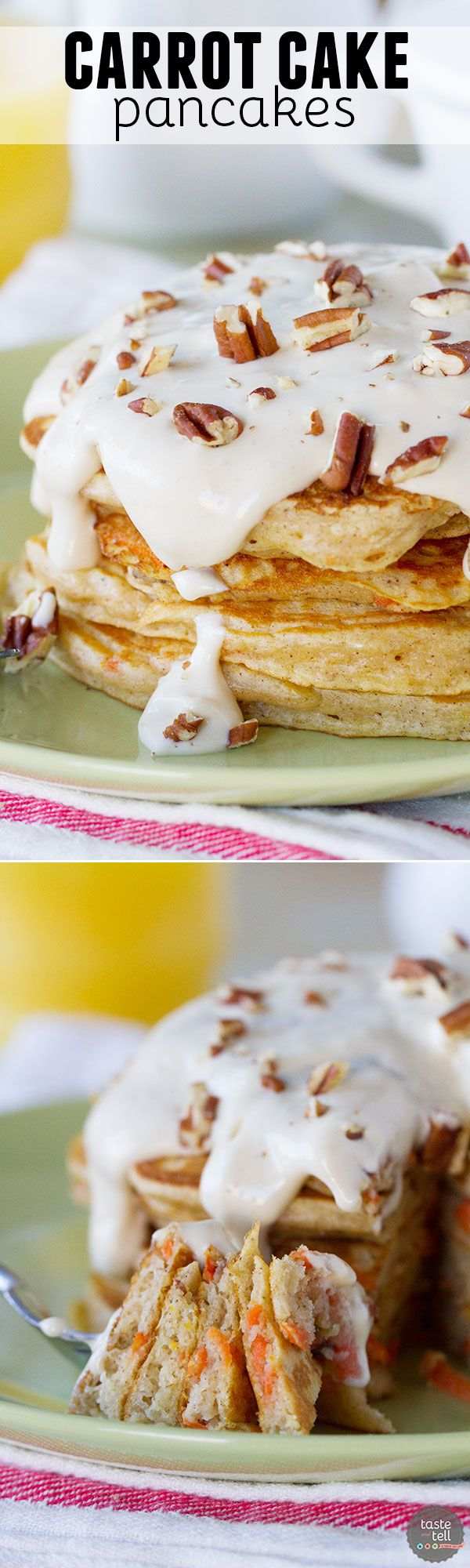 When dessert turns into breakfast, you know I'll be a fan! These Carrot Cake Pancakes are full of all of the best carrot cake flavors and topped with a maple cream cheese syrup.:
