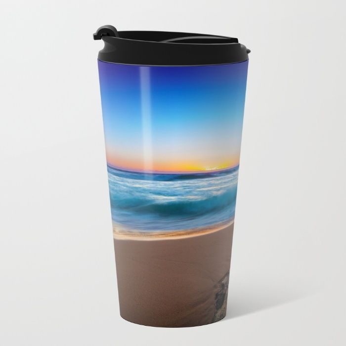 A Day At The Beach Metal Travel Mug by Mixed Imagery | Society6