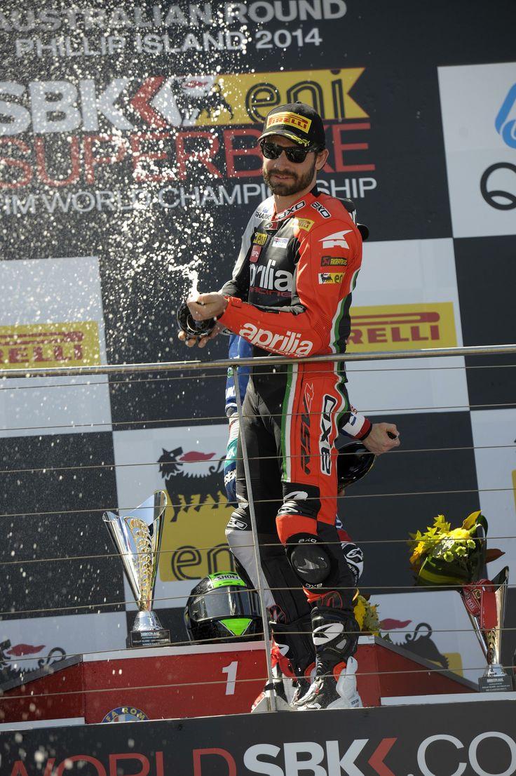BE A RACER! www.bearacer.com #bearacer Sylvain #Guintoli of Aprilia Racing Team 2014 wins Race 2  #Aprilia #wsbk #sbk