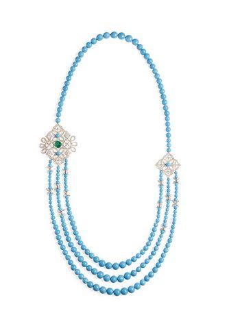#Piaget #Collier in oro rosa con uno #smeraldo taglio cussin,  84 #diamanti taglio marquise ,  208 perline di #turchese e 430 #diamanti taglio #brillante #Necklace #emerald  #turquoise  430 #brillant cut #diamonds
