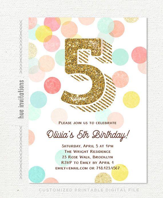 invito di compleanno ragazze, 5 ° compleanno stampabile il partito invita, glitter oro menta turchese pesca corallo rosa giallo, personalizzato file digitali