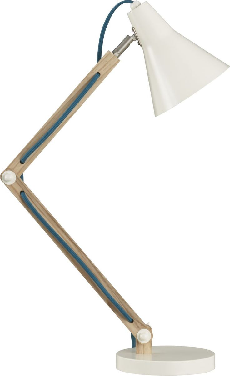 Rex Task Lamp - White oak, steel and a pop of color shine a light on streamlined task lighting. Clean ivory lamp contrasts brilliantly with adjustable wooden frame, with an eye-catching teal cord to bring in a touch of fresh, modern color. Looks great on a modern worktable or clean-lined desk.