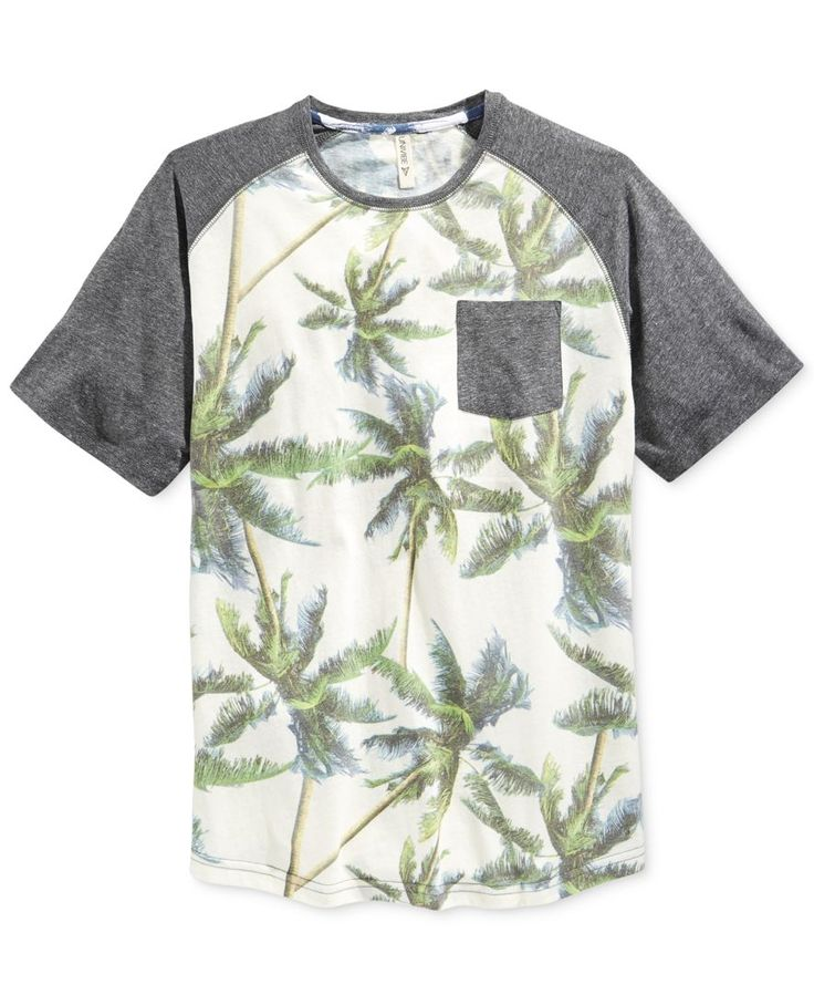 Univibe Men's Palmetto Palm-Tree-Print Raglan Sleeve Pocket T-Shirt