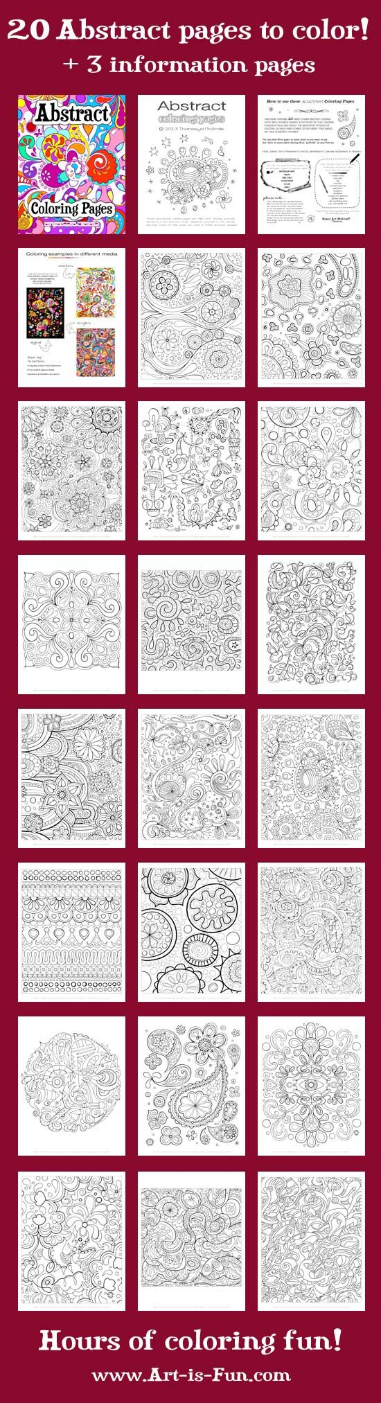 Free Printable Abstract Coloring pages- this is a fun way to teach about different kinds of art.