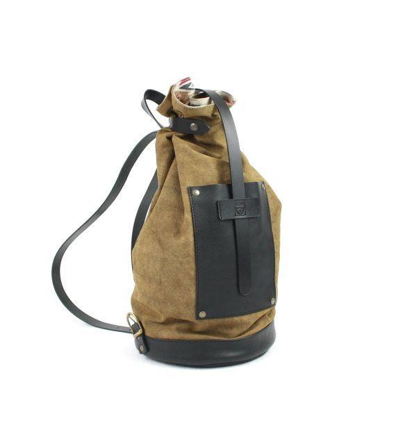 MUSTARD leather BACKPACK/marbled cotton fabric/HANDMADE backpacks/bags and purses/men backpacks/women backpacks/rucksack