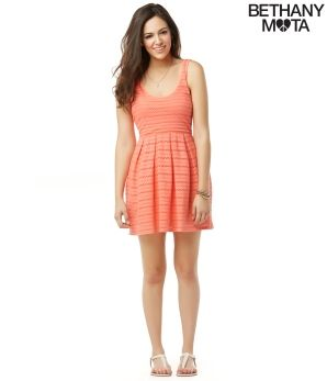 Bethany Mota Radiant Coral Lace Knit Dress