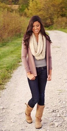 Sweater + scarf + jeans + boots=cute fall outfit: Neutrals with pop of light heather pink to bring it together