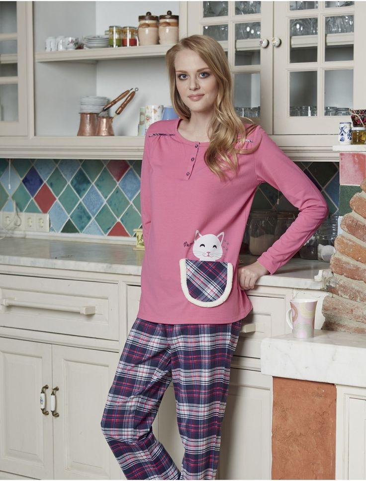 Ekoseli bayan kışlık pijama takımı. Pjs Bayan Pijama Takımı 1404.  Orjinal Pjs marka yeni sezon ürünüdür. #pijama #pjs #pembe #moda