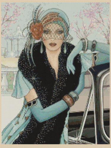 Cross stitch chart Art Deco Lady 42 - NEW | eBay