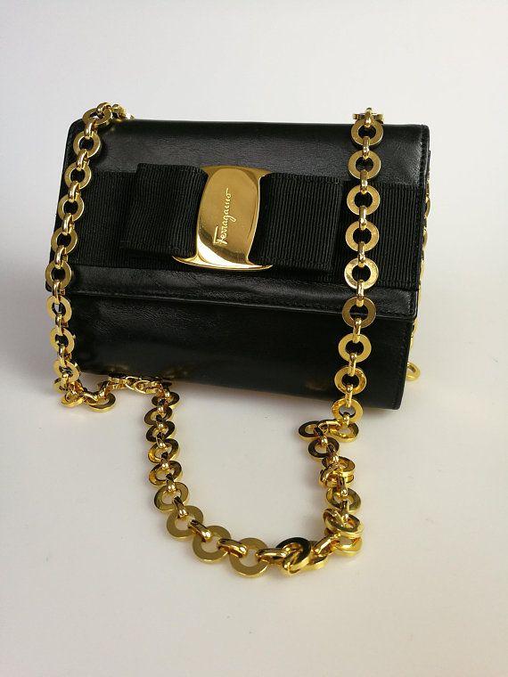 fe158bf7654 Salvatore Ferragamo Vara Bow Black Leather Gold Chain Mini Clutch   shoulder    cross body bag