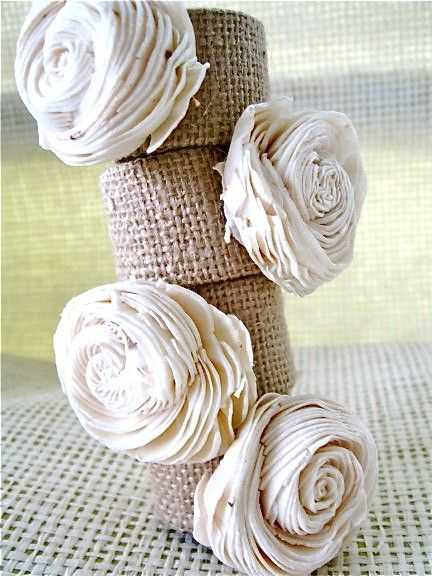 Burlap and Sola Flowers napkin rings, $24