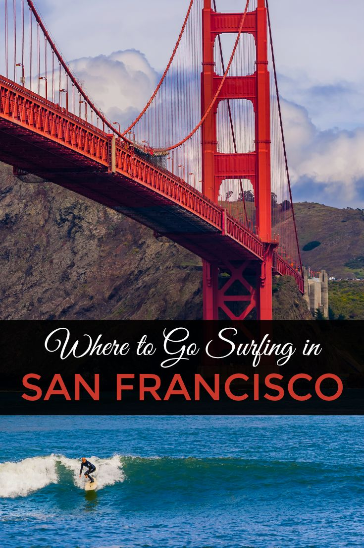 Where to Go Surfing in San Francisco, California: Did you know you can surf right under the Golden Gate Bridge? You can! Here are the best surf spots and surf breaks in San Francisco, San Mateo County, and Santa Cruz. From beginner breaks in Pacifica and Santa Cruz to expert big-wave swells at Mavericks and Montara.