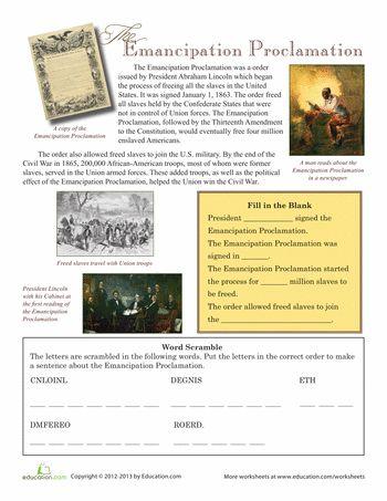 Worksheets: The Emancipation Proclamation
