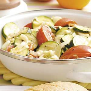 Zucchini Mozzarella Medley Recipe from Taste of Home-----use cooking spray instead of