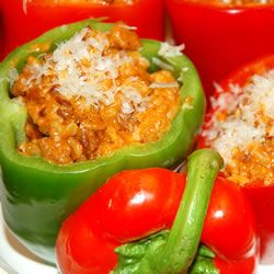 Bolognese Stuffed Bell Peppers  (I replace the pancetta/bacon with chopped fresh spinach)