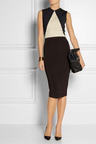 """Victoria Beckham                                  Paneled stretch-knit dress                              $2,115  """"I like to ask myself how would I wear something, then I turn it on its head,"""" said Victoria Beckham of her midi-length cocktail dresses for fall. Cream, brown and charcoal stretch-knit panels shape a flawless feminine silhouette. Unfasten the two-way zip from the hem to create a back vent."""