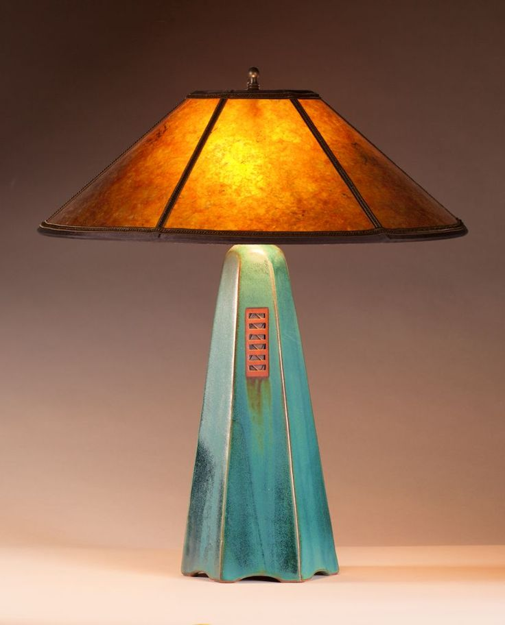 Viridian glaze | Amber mica shade | 22 in. height