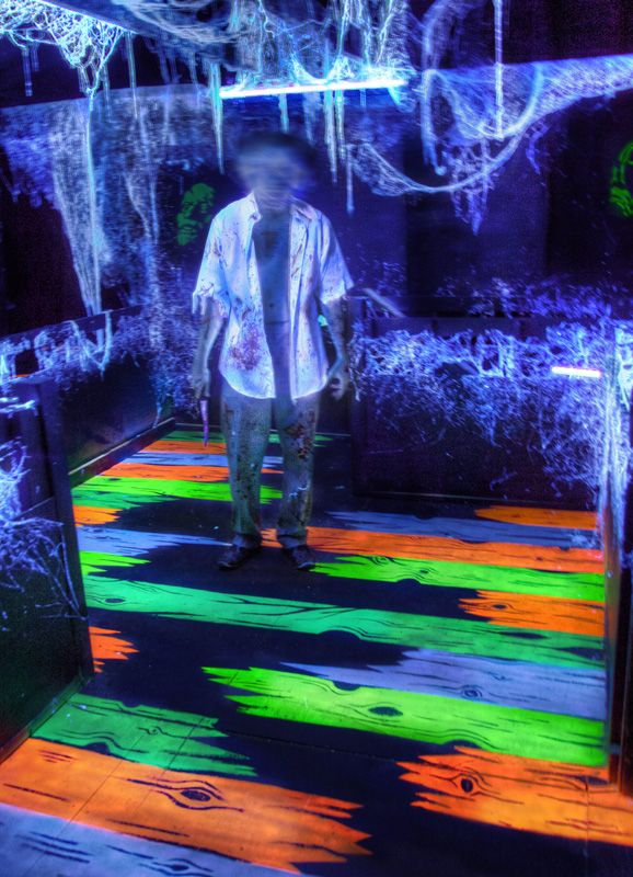 for toxic rave halloween party maybe use black puzzle floor glow paint change the design to fractals