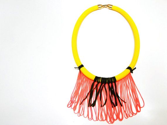 Yellow cord necklace with orange fringe
