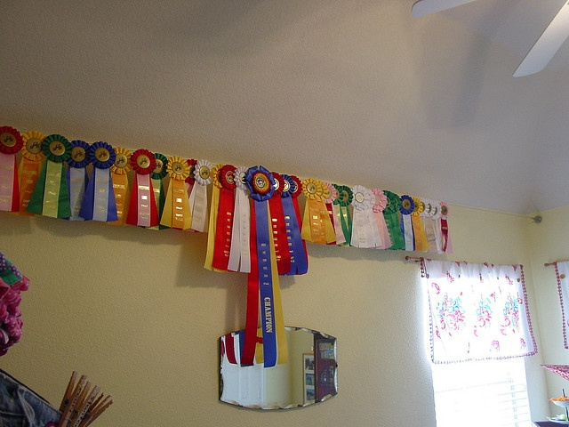 show ribbon display by Suburban Cowgirl, via Flickr possibly using Ikea wire from wall to wall