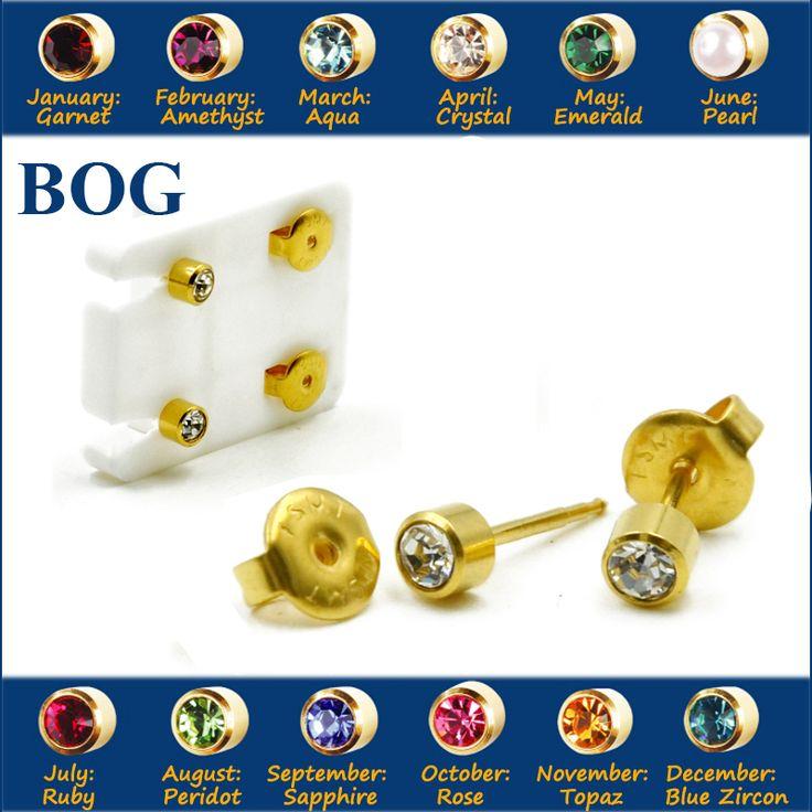 BOG-Pair 24K Gold Plating Surgical Steel 4mm Birthstone CZ Ear Stud Earrings Studs Studex Tragus Cartilage Piercing Body Jewelry