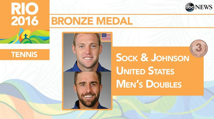 BRONZE FOR THE USA! Rio 2016 Olympic Tennis: Steve Johnson, Jack Sock win Bronze in Men's Doubles over CAN's Daniel Nestor, Vasek Pospisil. 8/12/16 Well done, Jack!