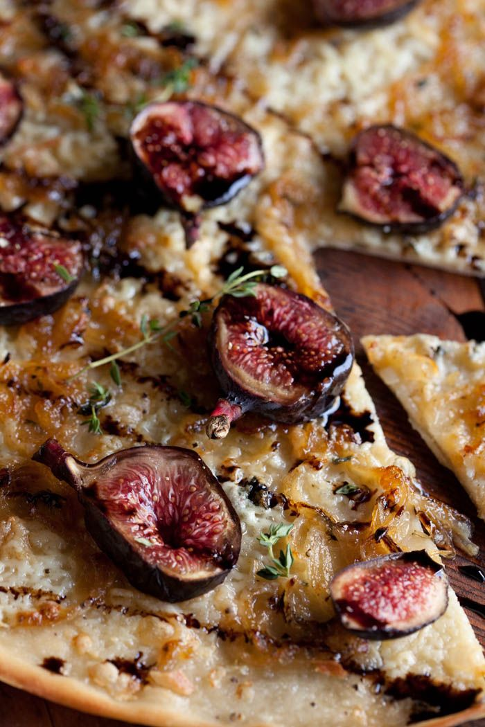 Pizza bianco with caramelised onion, blue cheese, figs and balsamic