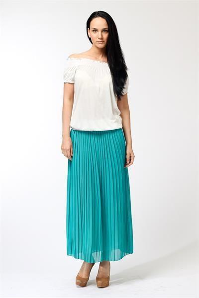 Бирюзовая юбка плиссе