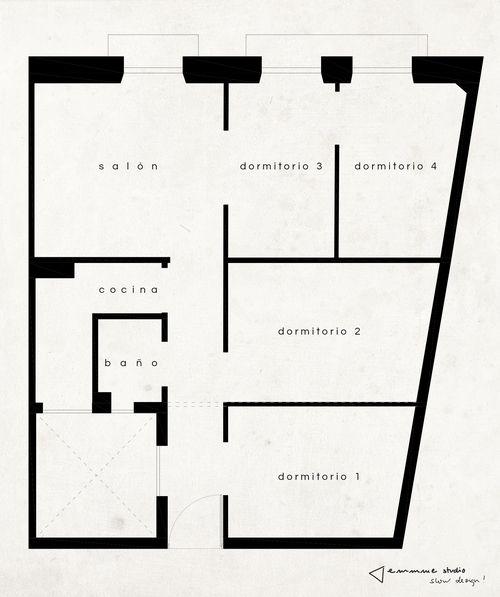 El piso de Irene - plano estado previo #distribucion #layout #interiordesign #antes #before #reformaintegral #renovation