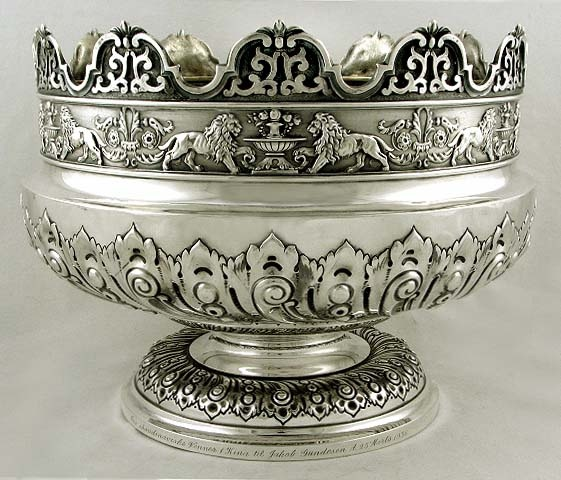 Engish Sterling Silver Montieth Punch Bowl Twin Lion 1905