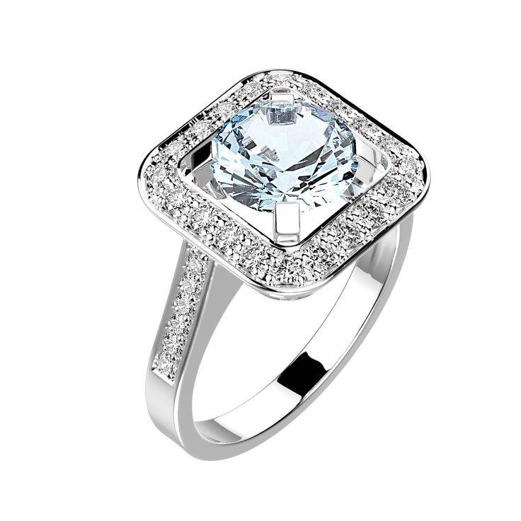 Bague Anastasia - Argent, Aigue-marine et Diamant 1