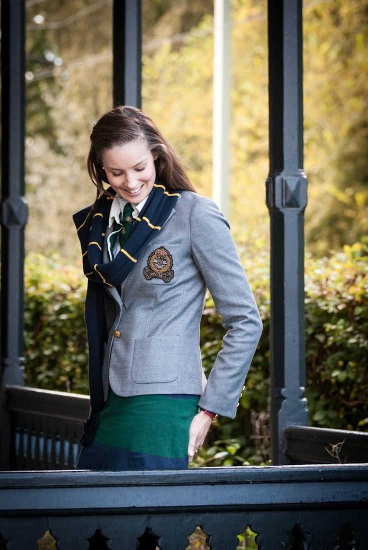 Ivy League Style   Grey crested blazer   Blue scarf with yellow stripe   Green and blue Rugby stripe dress