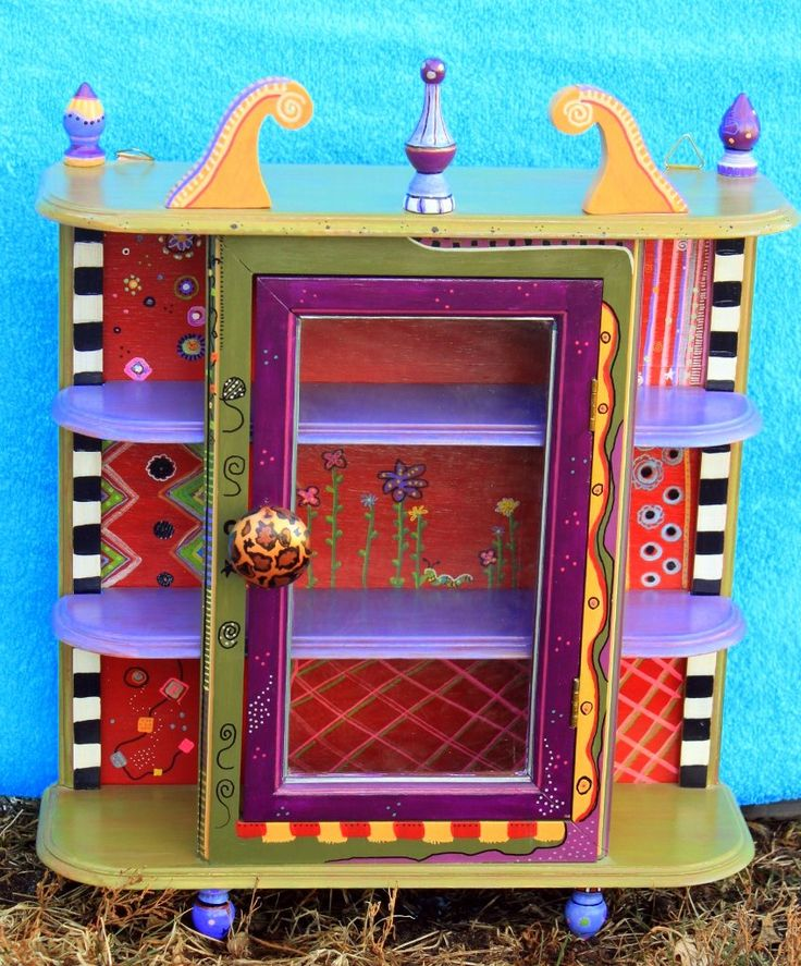 """Small Curio Cabinet Carolyns Funky Furniture…would have to go on a """"finding"""" trip to thrift shops to find something that resembles this and then PAINT AWAY…..!!!"""