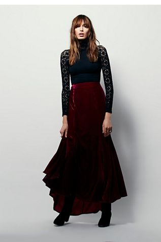 Free People Curtain Call Velvet Maxi Skirt at Free People Clothing Boutique