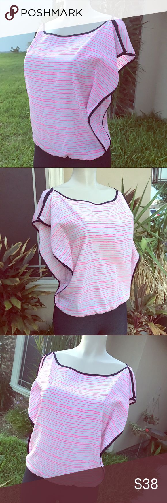 EUC Armani Silky top with stripes very stylish Like new! Super comfy stylish to buy Armani! Smooth silky fabric, soft and comfortable. Love the Navy and neon pink combo! Works great with denim or leggings! Size Small true to size. A/X Armani Exchange Tops Blouses