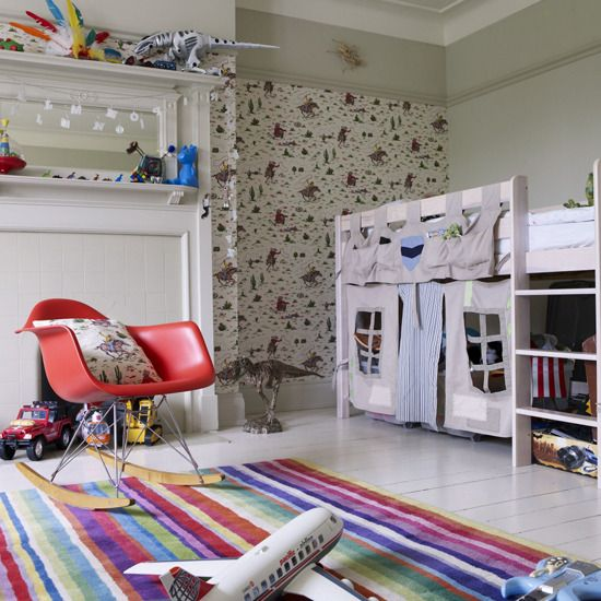 Bedroom Design, Modern Children's Bedrooms With Striped Carpet, Red Arm Chair And Wall Shelves Also Cabinet: Cute Childrens Bedroom Designs ...