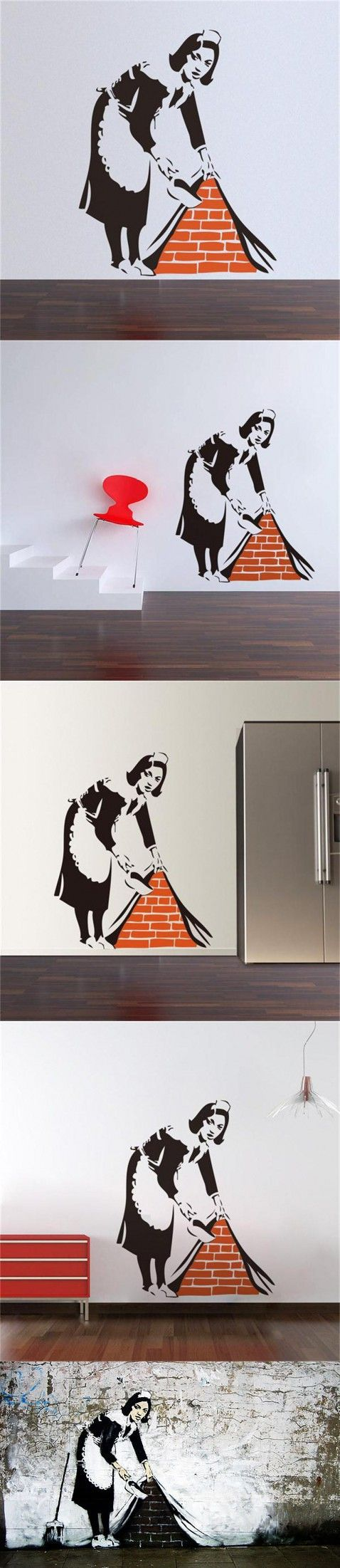 Popular women Banksy painting work creative home decal wall stickers elegant public wall decoration for museum store mural $4.92