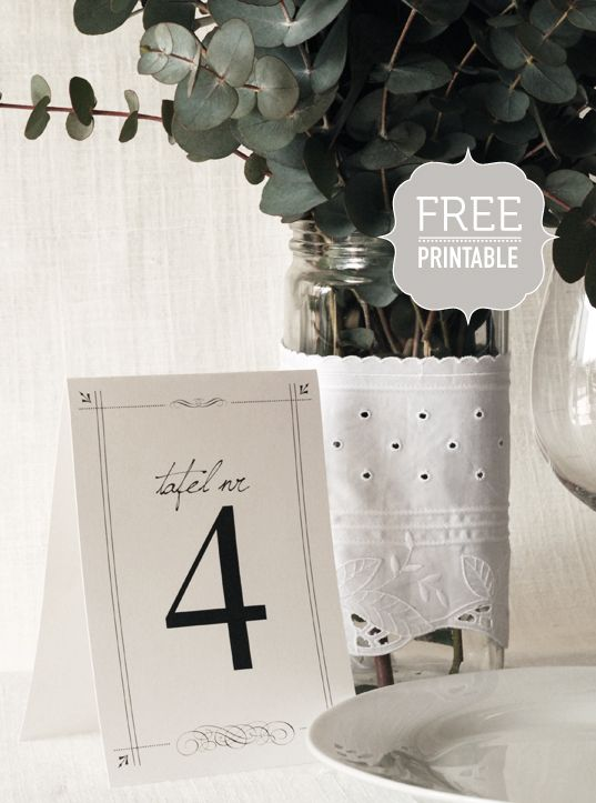 Black and white table numbers.  Designed by Seven Swans. #tablenumbers, #stationery