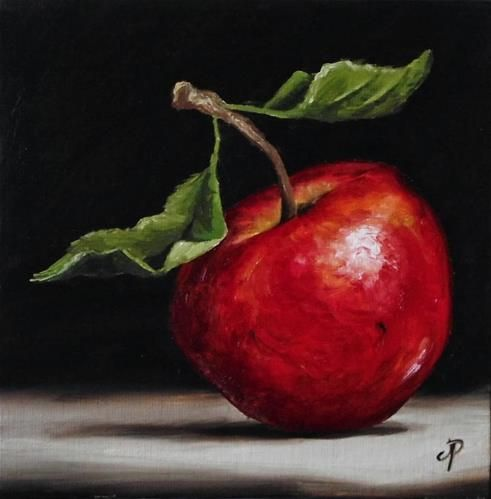 """Red Apple"" - Original Fine Art for Sale - © Jane Palmer"