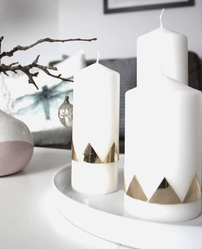 DIY: coole Weihnachtskerzen mit goldenem geometrischen Muster aus Wachsplatten *** DIY: cool christmas candles with golden geometric pattern