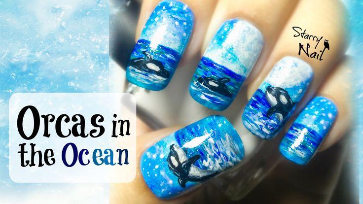 Orcas in the Ocean Freehand Nail Art Video Tutorial  #nail #nails #NailArt #NailPolish #NailDesign #NailTutorial #NailArtTutorial #Tutorial #Art