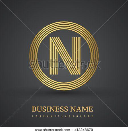 Elegant gold letter symbol. Letter N logo design. Vector logo design template elements  for company identity. - stock vector