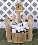 Small Amish Corner Picket Fence Planter with Birdhouse Amish Crafts Collection Featuring a wren house and bucket planter, this Amish made creation will offer you with hours of bird watching oppo