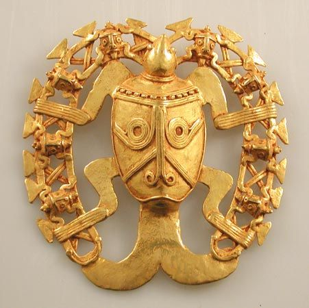Gold Pectoral of a Turtle Surrounded by a Ring Featuring Eight Small Turtles -  Origin: Costa Rican/Panamanian Border Area Circa: 500 AD to 1550 AD