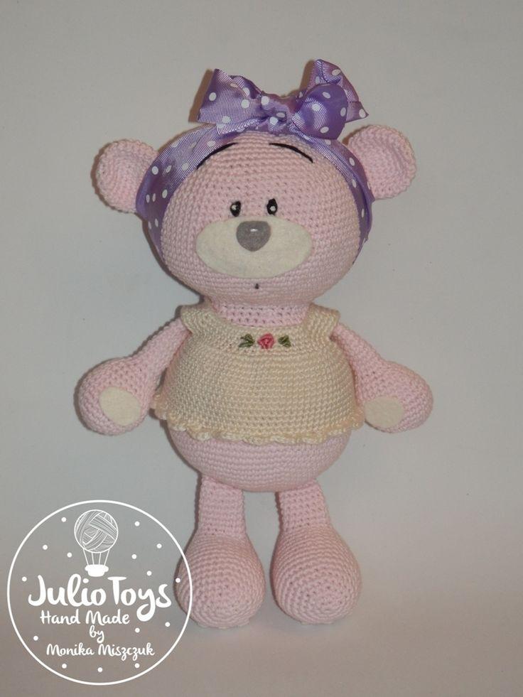 pink crochet teddy bear by Julio Toys https://www.etsy.com/listing/258100904/bibi-cute-pink-crochet-teddy-bear
