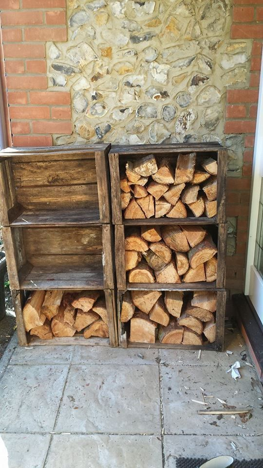 VINTAGE WOODEN Log Store | Timber Store | Wood Burner - APPLE Fruit Crates X 6  -