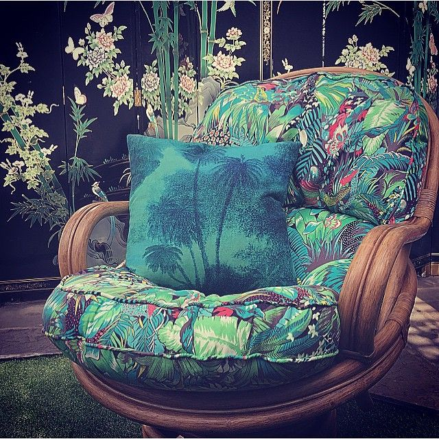 """""""This vintage rocking chair with my jungle beat fabric is coming to @rockettstgeorge soon as a limited edition. #MWblakes @osborneandlittle"""" Matthew Williamson shares a first glimpse of a new chair he designed with Osborne and Little"""