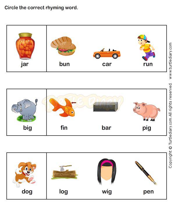 Find the Rhyme Kindergarten Language Arts Worksheets JumpStart – Language Arts Worksheets Kindergarten