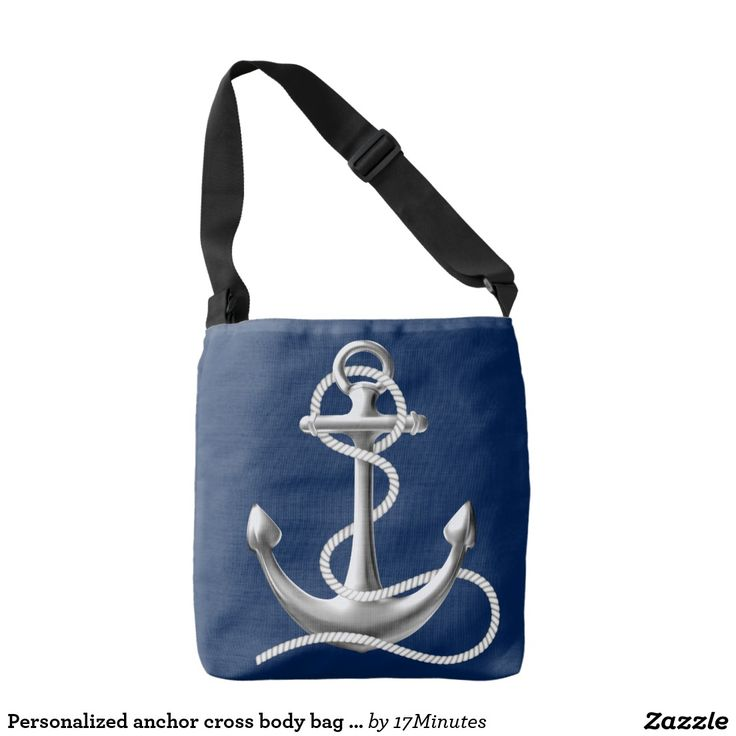 Personalized anchor cross body bag. Navy blue bag, nautical bag. Personalized on the back side with your custom text. Navy blue bag. Anchor bag.